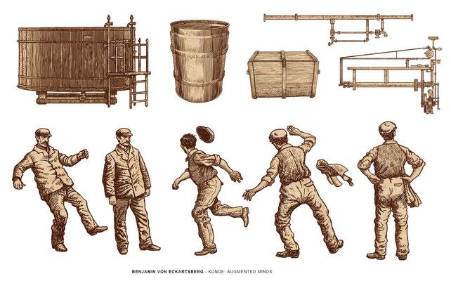 Benjamin von Eckartsberg - Illustration History App for Augmented Reality Animation: Kunde: Augmented Minds