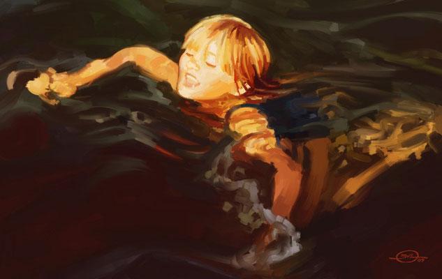 Benjamin von Eckartsberg - Illustration: Little girl swimming - Private work
