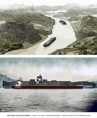 Benjamin von Eckartsberg - Illustrationsserie: Building of the Panama Canal- Kunde: Allianz