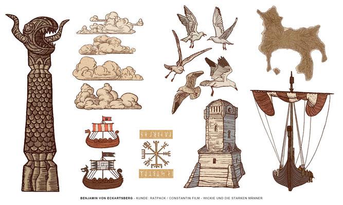 Benjamin von Eckartsberg - Illustration für Animations-Sequenz - Wickie und die starken Männer - Ratpack / Constantin Film