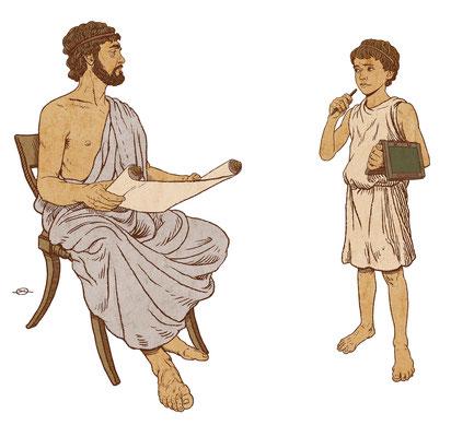 Benjamin von Eckartsberg - Illustration  für Austellung über Schule - Athen - Kunde: Bayerisches Nationalmuseum