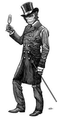 Benjamin von Eckartsberg - Illustration für Sekt Etikett - Kunde: Chimpanski Brut