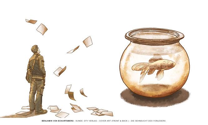 Benjamin von Eckartsberg - Illustration Buchcover und-rücken: Didierlaurent-Die Sehnsucht des Vorlesers, dtv