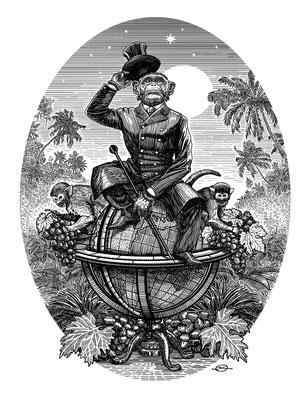 Benjamin von Eckartsberg - Illustration Champagner Etikett - Kunde:Chimpanski Brut
