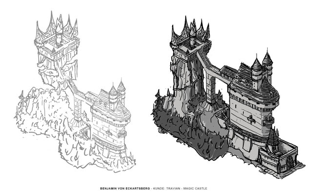 Benjamin von Eckartsberg - Concept Art - Magic Castle Sketch - Kunde: Travian Games