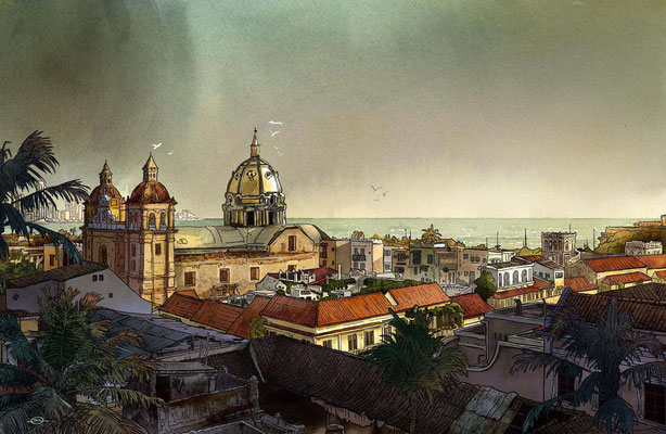 Benjamin von Eckartsberg - Editorial-Illustration: Cartagena, Kolumbien - Kunde: AIDA CRUISES Kundenmagazin