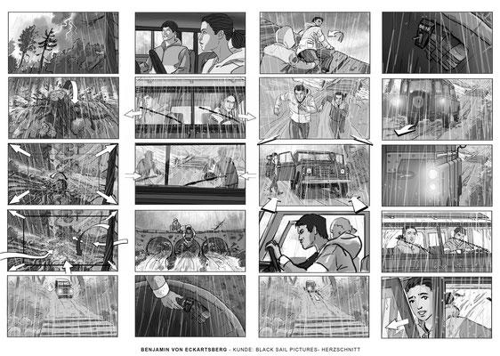 Benjamin von Eckartsberg - Storyboard- Herzschnitt - Kunde: Black Sail Pictures.VFX