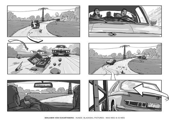 Benjamin von Eckartsberg - Storyboard- Was weg is weg - Kunde: Black Sail Pictures.VFX