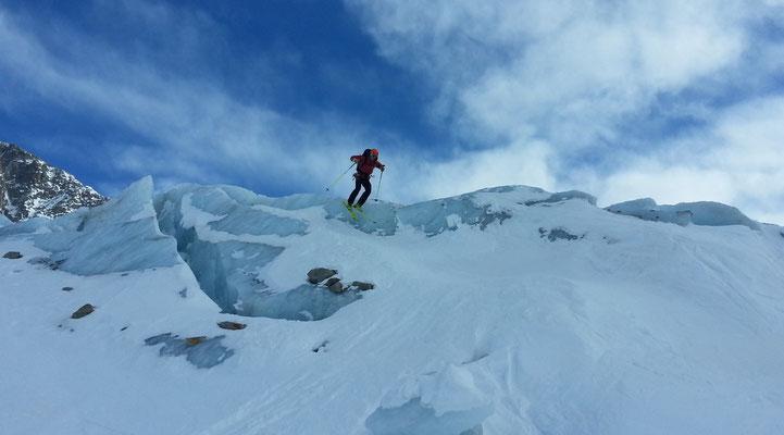 Descente du glacier d'Argentière, Col des Cristaux