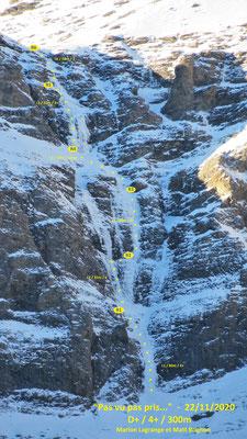 """Topo """"Pas vu pas Pris..."""" - Cascade de glace - Goulotte - Guide Maurienne"""