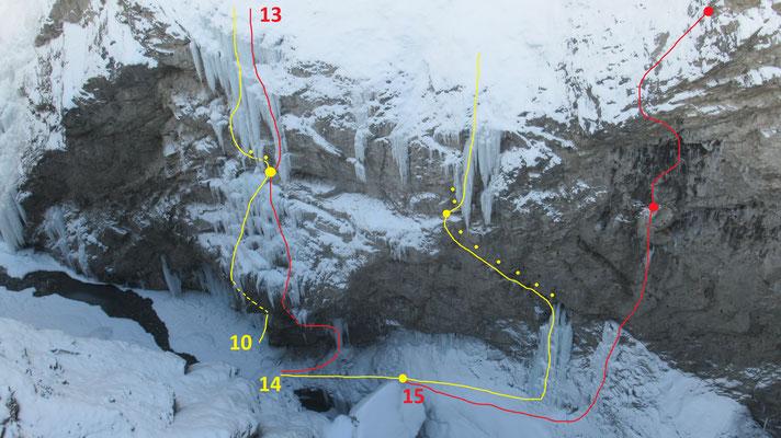 Partie basse des lignes de droite de la gorge de Glacenost en 2021  -  topo