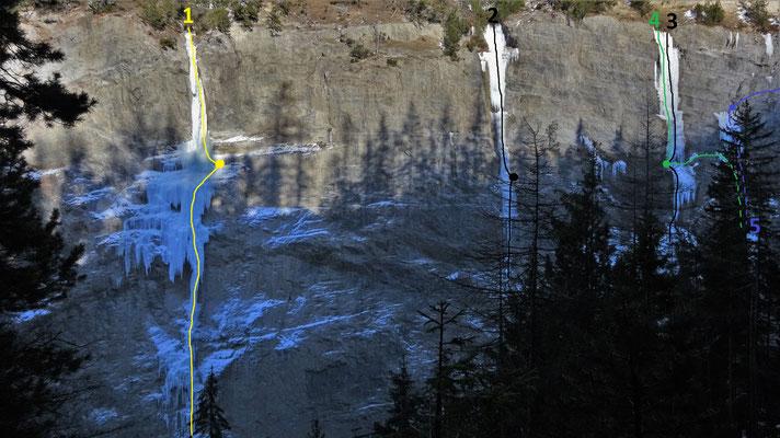 Partie gauche de la gorge de Glacenost en 2019  -  topo