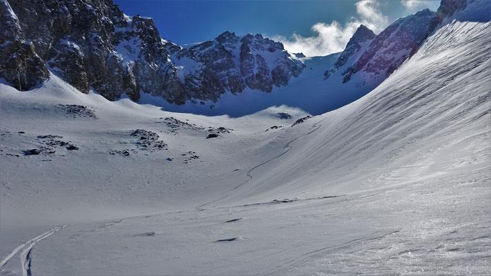 Descente en neige très changeante, Pic du Thabor