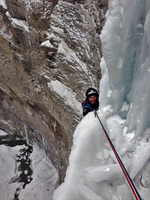 Arrivée au 2nd relais, Glacenost, cascade de glace Haute-Maurienne