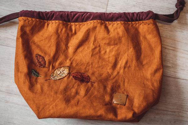 ... Projekttasche ABIES mit Blättern bestickt, von @bohnenkraut_makes