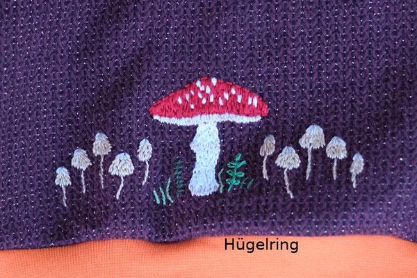 Pilze auf Strickstoff gestickt, von @huegelring
