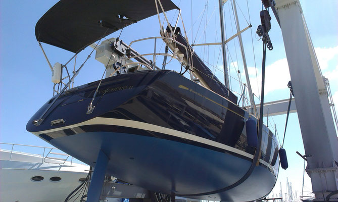 Grand Soleil topsides with Awlgrip finish with additional Awlgrip Clear coat