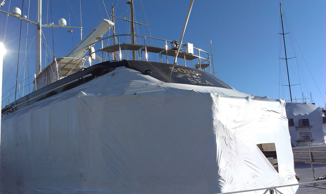 Tenting solution on a Swan 112