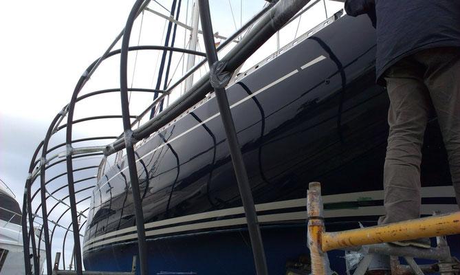 Nauticat 55 with Awlgrip finish on topsides