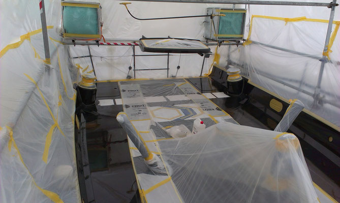 Refit and refinishing work on a carbon fibre Transpac 65