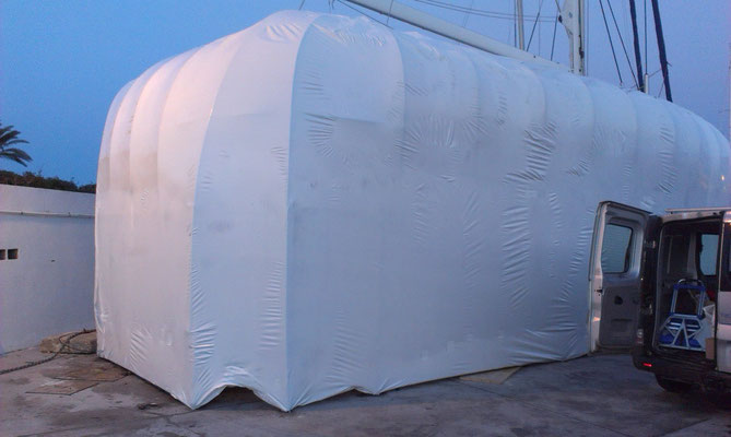 Tenting for topside refinishing