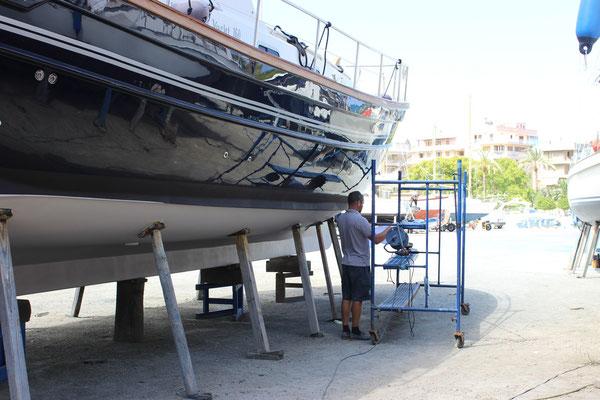 Menorquin 160 under going refit and varnish work