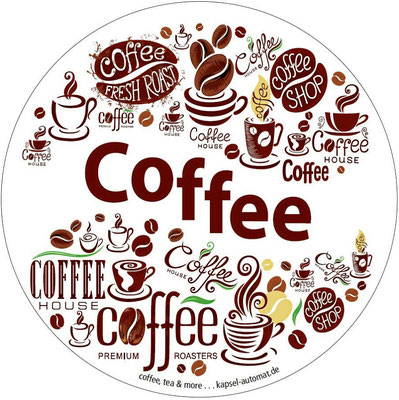 Aufkleber Coffee, Kaffeekapsel-Automat