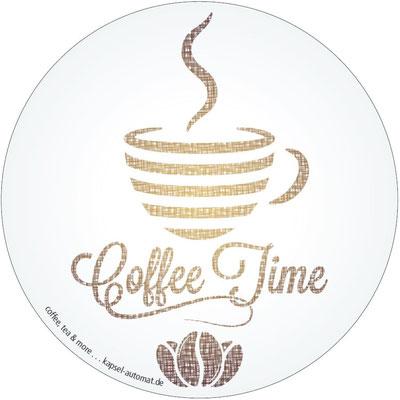 Aufkleber Coffee Time, Kaffeekapsel-Automat