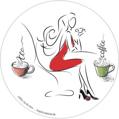 Aufkleber Lady, Kaffeekapsel-Automat