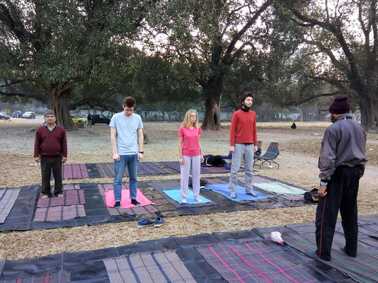 Cours de yoga tôt le matin...