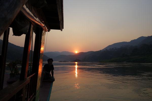 Croisière sur le Mékong - coucher de soleil