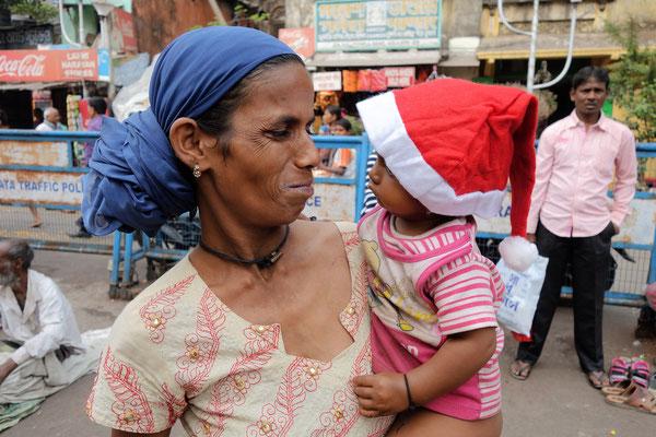 Dans les rues de Calcutta le jour de Noël
