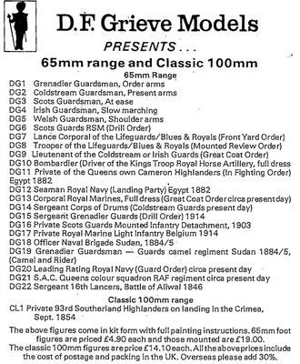 D.F. Grieve Models list 1987