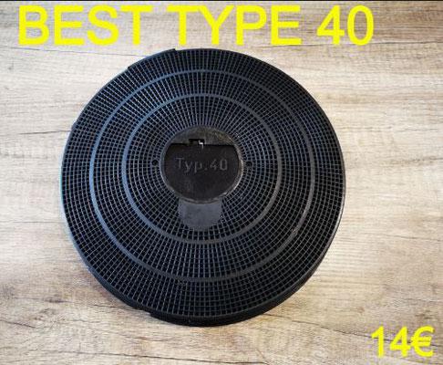 FILTRE DE HOTTE : BEST TYPE 40