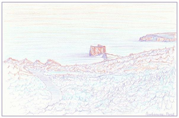 Les Trois-Sœurs, le Rocher-Percé et l'Île-Bonaventure vus du belvédère du Mont-Blanc