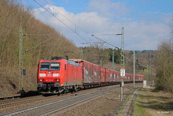 Auf dem Weg Richtung Hanau ist auch 185 170 am 30. März 2017 bei Schlüchtern.