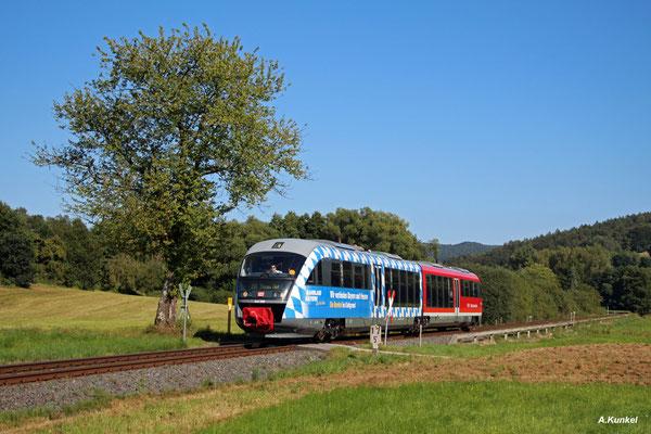 Auf der Fahrt nach Hanau wird 642 698 am 31. August 2016 im Kahlgrund mehrere unbeschrankte Bahnübergänge passieren. So auch diesen kurz vor Schimborn, der vermutlich von mehr Zügen als anderen Wegebenutzern benutzt wird...