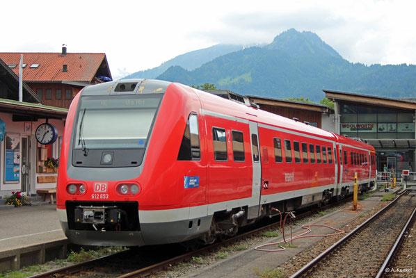 612 653/053 steht am 21. Juni 2019 in Oberstdorf abgestellt und wartet auf den nächsten Einsatz als RE nach Ulm.