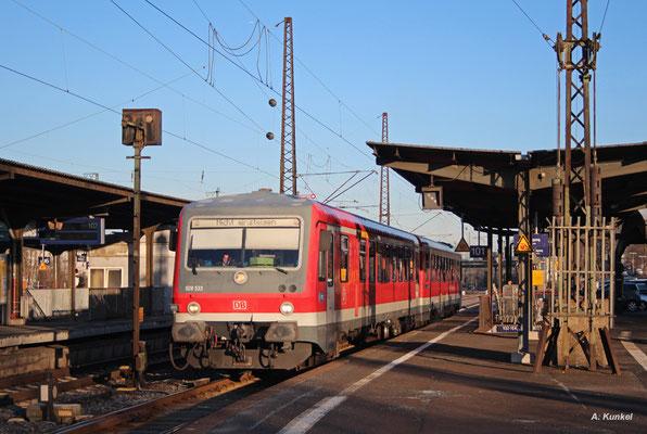 628 533 hat am 21. März 2018 als RE 23350 aus Miltenberg seinen Zielort Hanau Hbf erreicht und verlässt den Bahnsteig nun als Leerfahrt in Richtung Schöllkrippen zur Werkstatt.