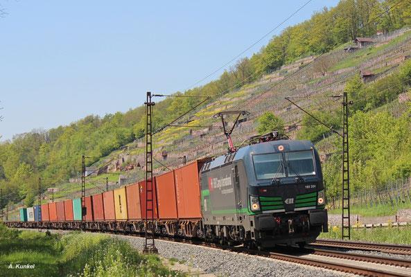 """193 201 der österreichischen ELL fährt für die """"Schweizerischen Bundesbahnen Cargo International"""" über deutsche Gleise... Dabei ist sie sicher schon des öfteren durchs Maintal gekommen - wie auch am 06. Mai 2016 kurz vor Karlstadt."""