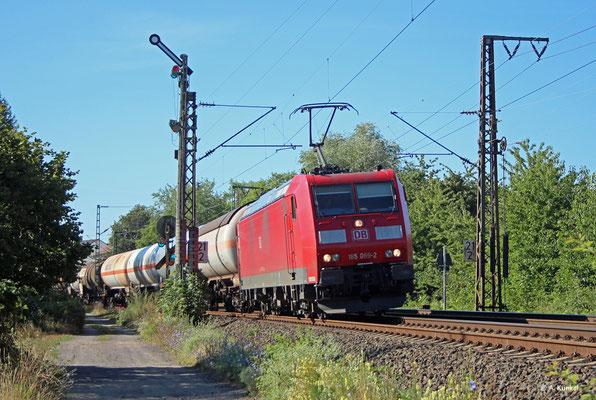 185 069 erhält am 23. Juil 2019 Einfahrt nach Hanau Hbf.
