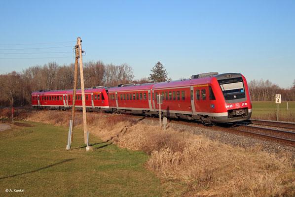 612 058 und 612 099 (?) fahren am 2. Januar 2020 als RE 3687/3987 nach Oberstdorf bzw. Lindau, hier in Stein.