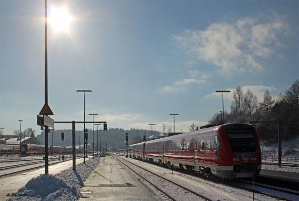 612 088 als RE 3388 nach Oberstorf, Kempten Hbf, 3. Januar 2017.