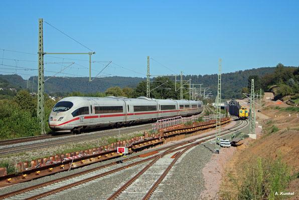 """403 053 """"Neu Ulm"""" passiert gleich die künftige Abzweigstelle auf die neue Trasse (Laufach, 26. August 2016)."""