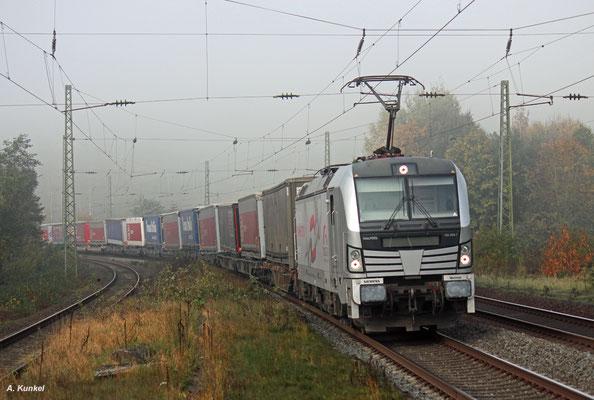 Am 18.Oktober 2017 wird 193 806 noch gut einen Monat lang für TX Logistik fahren, danach wird sie an DB Regio vermietet werden, hier bei der Durchfahrt in Wirtheim.