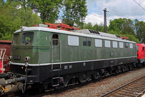 E50 091 war einst auch zum planmäßigen Schiebedienst in Laufach eingesetzt- am 25. Mai 2017 ist sie als Museumsstück des DB Museums vor Ort.