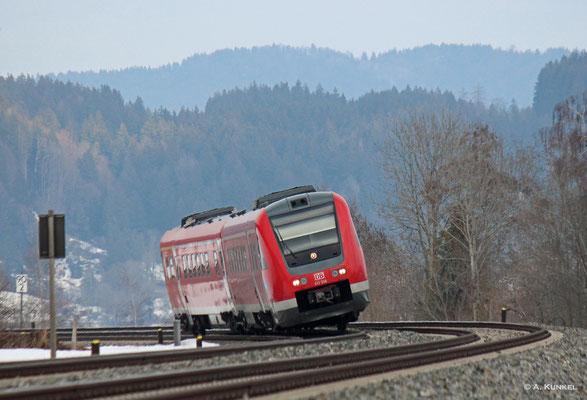 612 558 als RE 3290 nach Lindau am 02. März 2019 bei Trieblings.