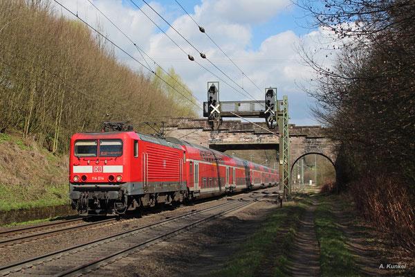 114 014 mit RE50 nach Frankfurt am 30. März 2017 bei Schlüchtern.
