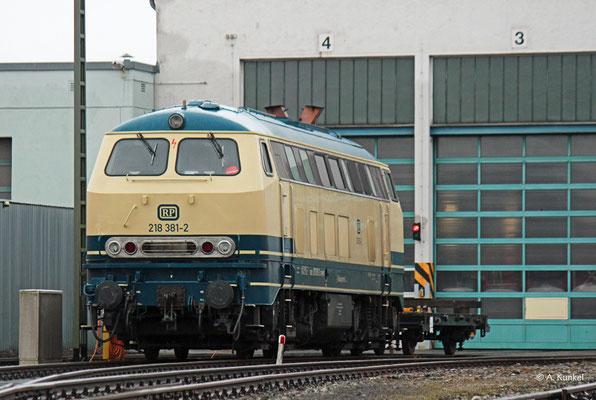 218 381 von RP wurde zwar im Winter 2019/20 von der DB angemietet, stand aber länger in der Werkstatt, als dass sie im Einsatz war. Sie wurde für die letzten Miettage durch 218 402 ersetzt. Am 4. Januar 2020 steht die 218 381 im Werk Kempten.