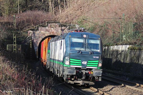 Kurz darauf hat die 193 202 mit Zug DGS 42983 (Dradenau - Enns) den nur 151 m langen Brandensteintunnel bereits schon wieder verlassen (Elm, 08. Januar 2016).